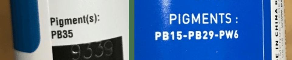 informations sur les tubes de peinture concernant le ou les pigments utilisés