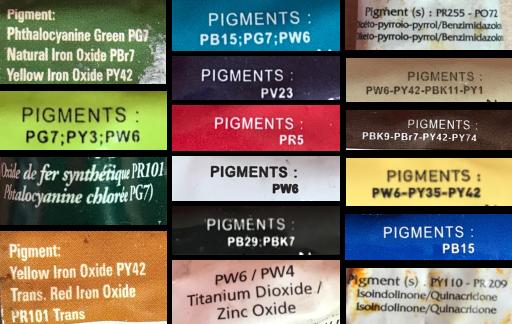 nomenclature des pigments certains sont des mélanges de plusieurs pigments que je ne vais pas utiliser dans mon tableau des mélanges de couleurs