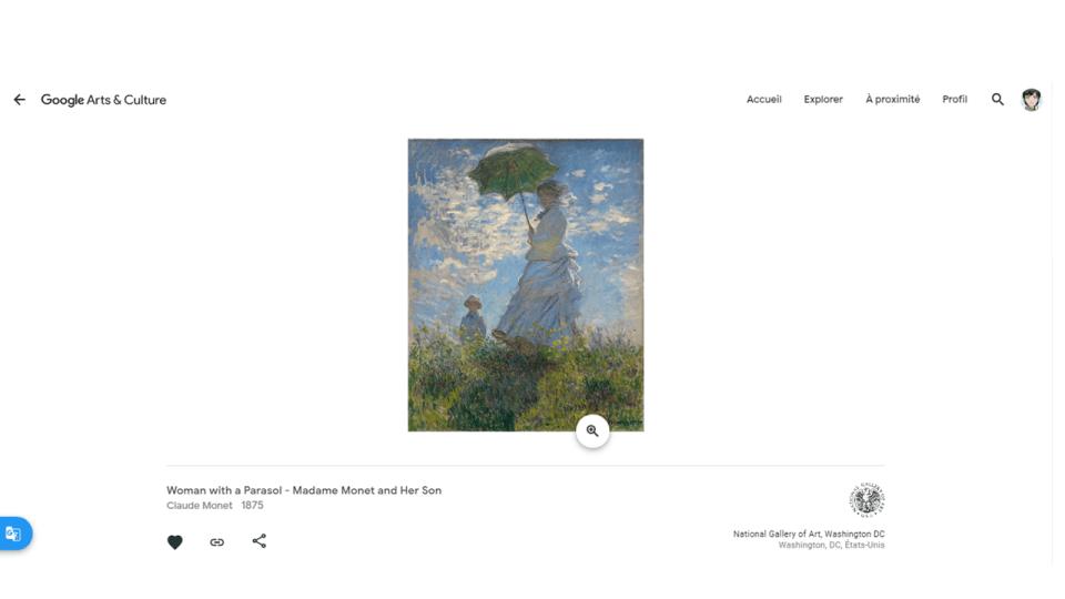 La femme à l'ombrelle de Claude Monet