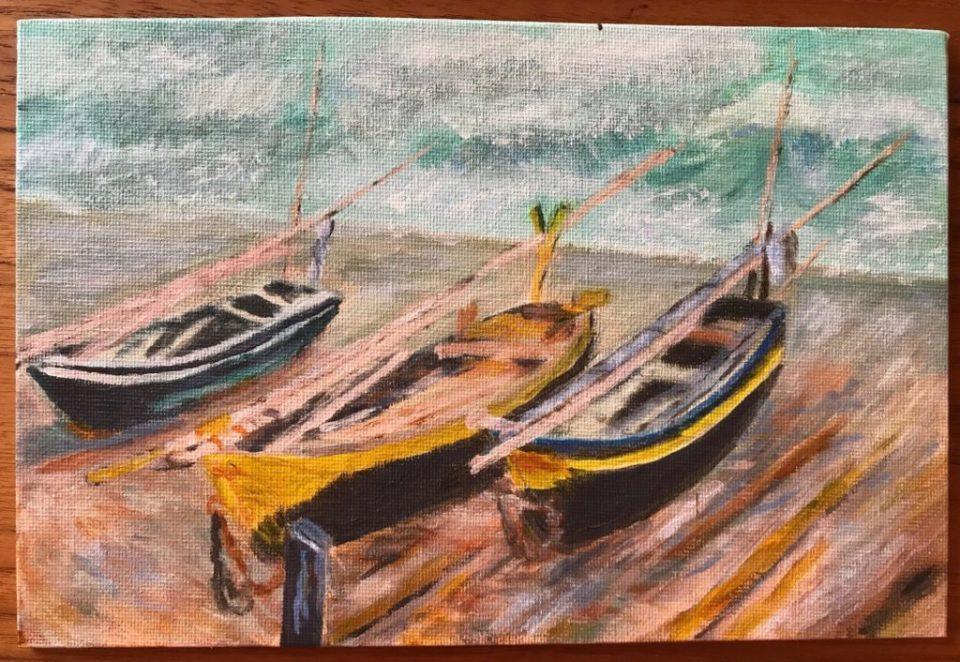 Les trois bâteaux de pêche - Reproduction d'après Claude Monet