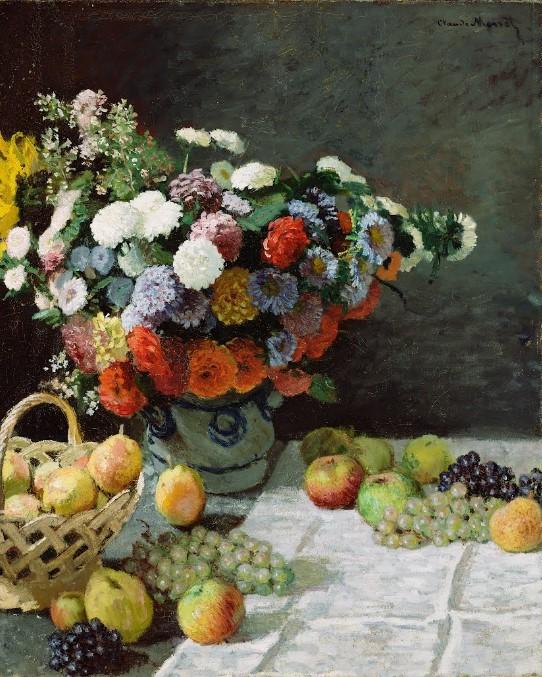 Nature morte avec fleurs et fruits - Claude Monet