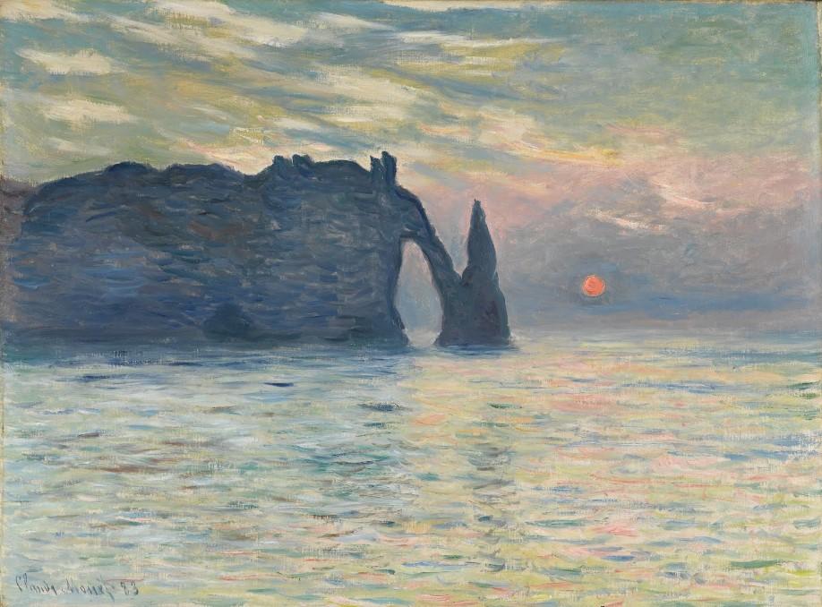 Soleil couchant à Etretat - Claude Monet