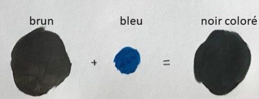 noir coloré par mélange de brun et bleu