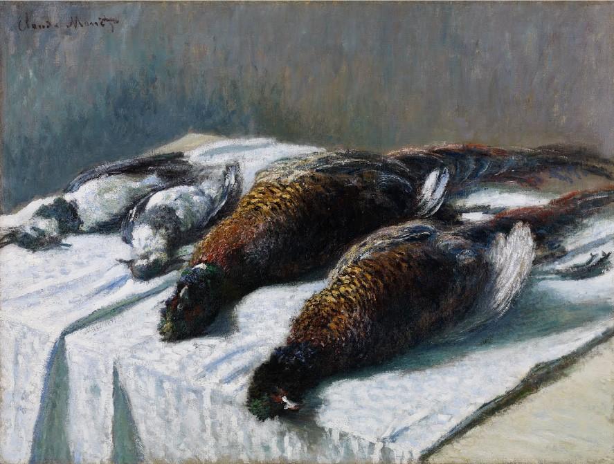 composition symétrique de la peinture : Nature morte avec faisans et pluvier - Claude Monet