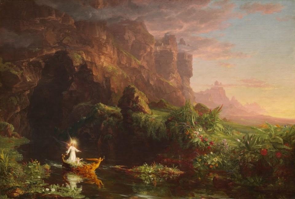 Le voyage de la vie : l'enfance - Thomas Cole - 1842 pour illustrer la composition en peinture et la  perspective