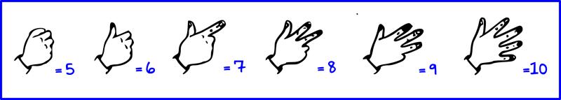 association chiffres/doigts de 5 à 10