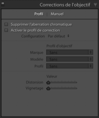 Profil de correction Lightroom