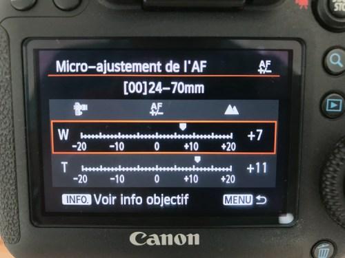 Menu appareil photo Canon