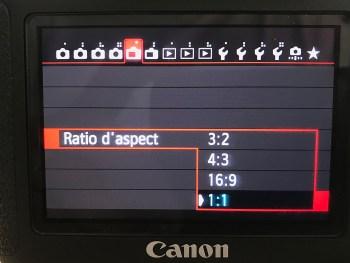 menu de choix du ratio sur canon 6D