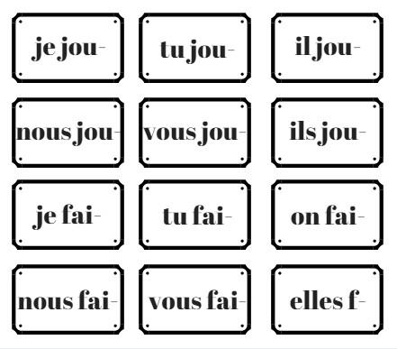 jeu conjugaison présent verbes irréguliers