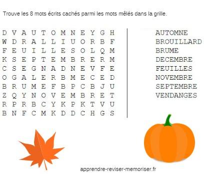 jeux mots croisés automne