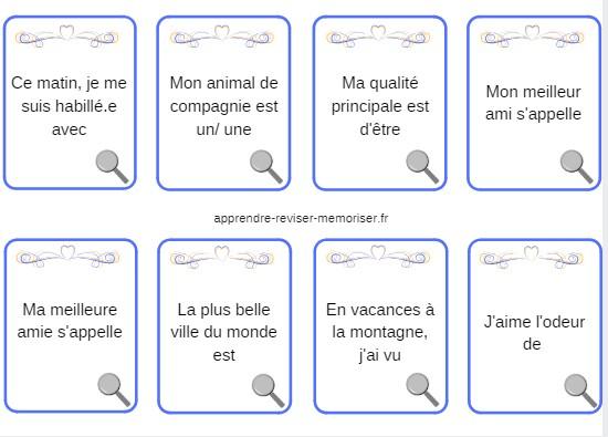 cartes jeu vocabulaire