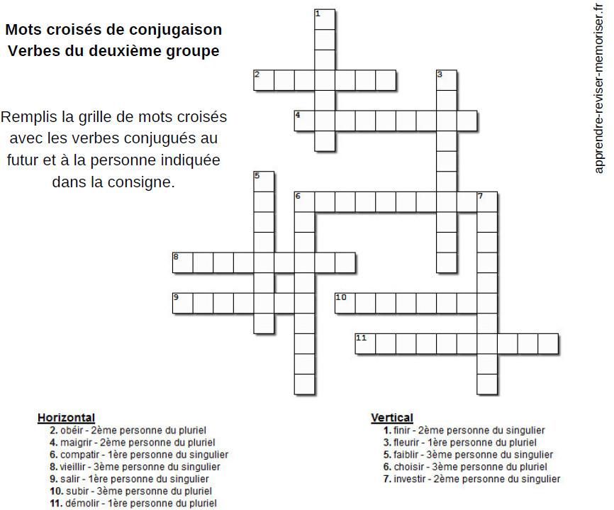Mots Croises De Conjugaison Pour Travailler Le Futur Des Verbes Des Trois Groupes Apprendre Reviser Memoriser
