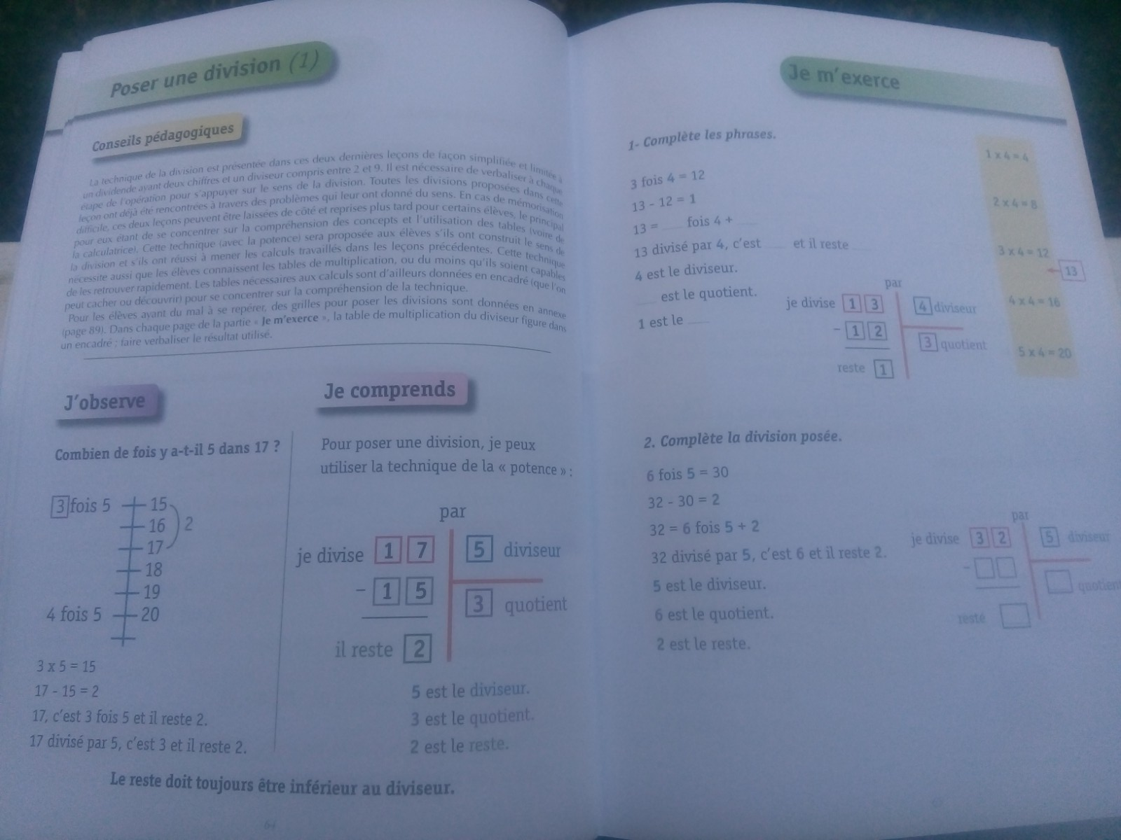 cahier maths enfants division