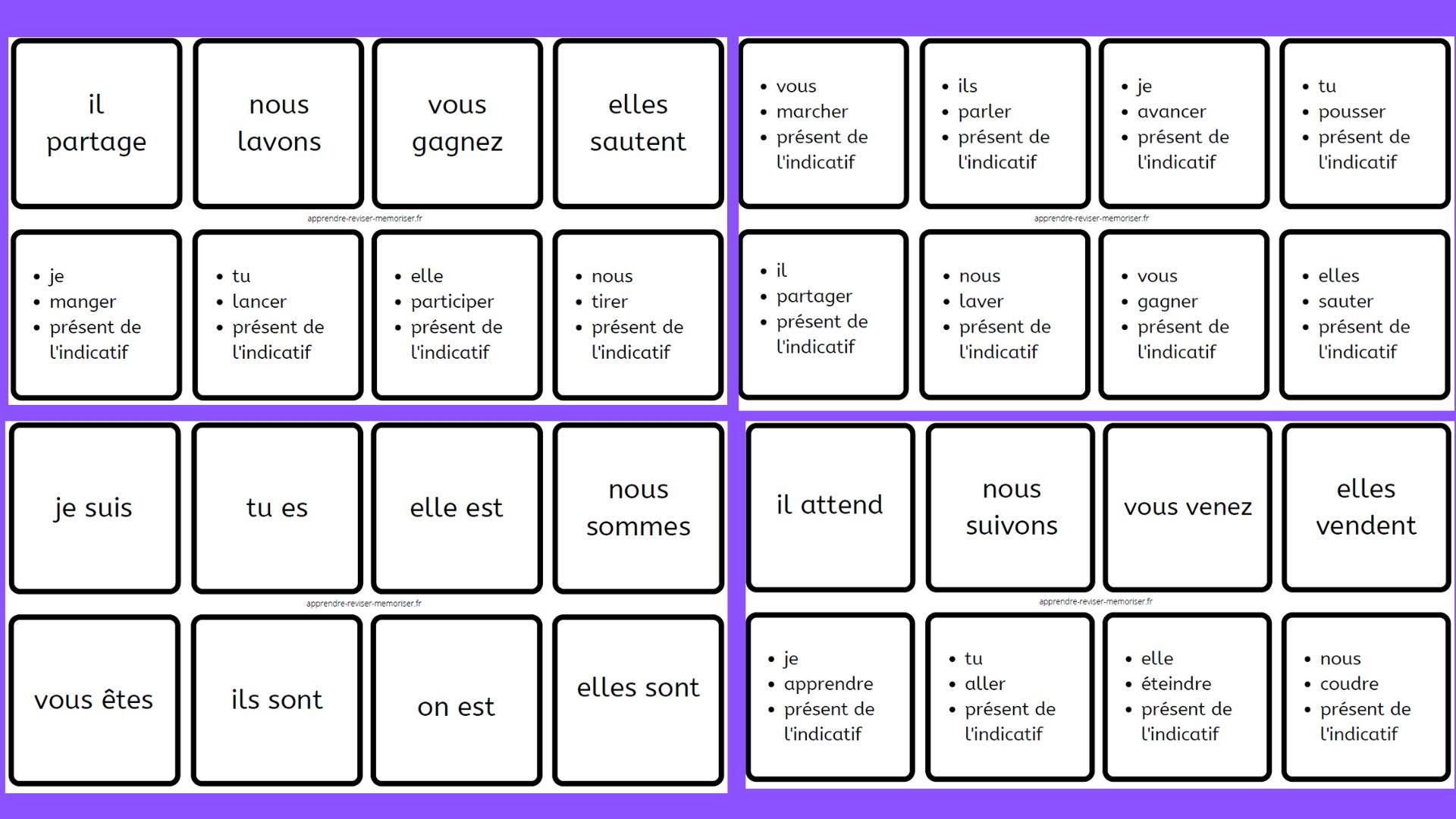 Dominos de conjugaison du présent de l'indicatif 3 groupes