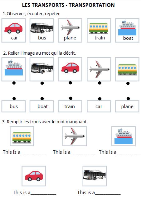 exercices mots vocabulaire anglais enfants