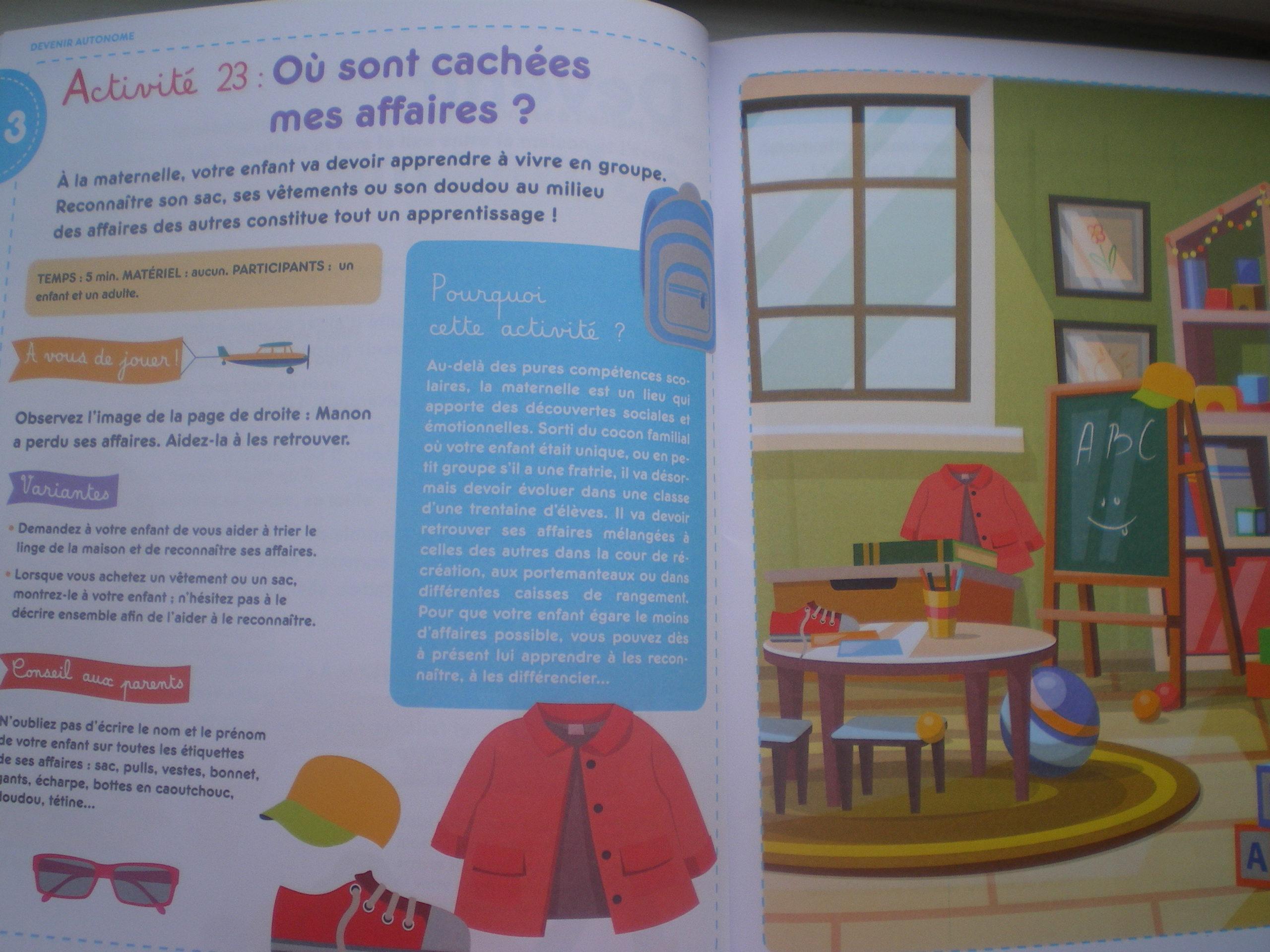 activités enfants préparer entrée école maternelle
