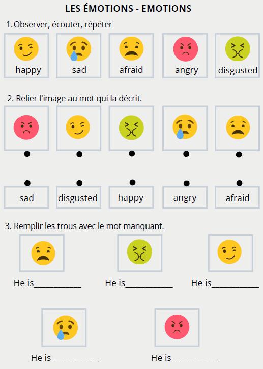fiche vocabulaire émotion anglais