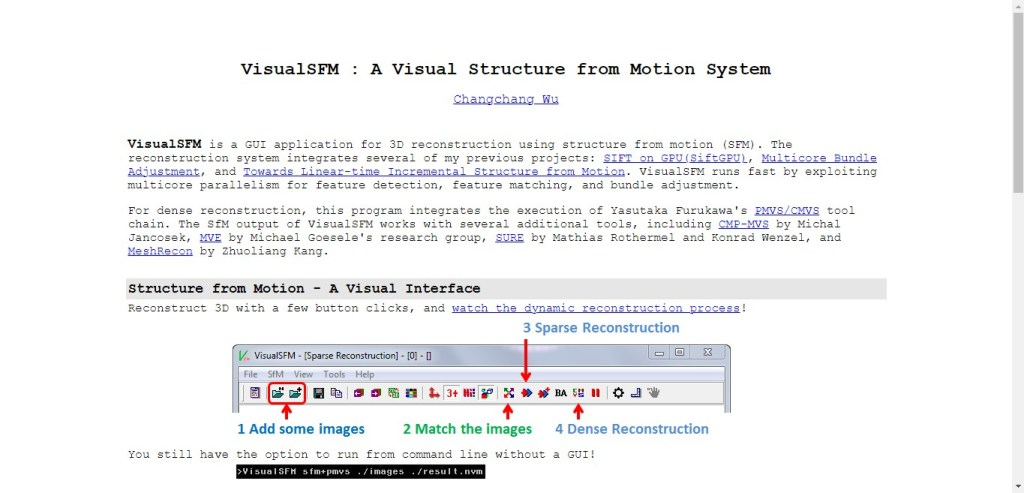 Visual SFM - appli 3D de photogrammétrie
