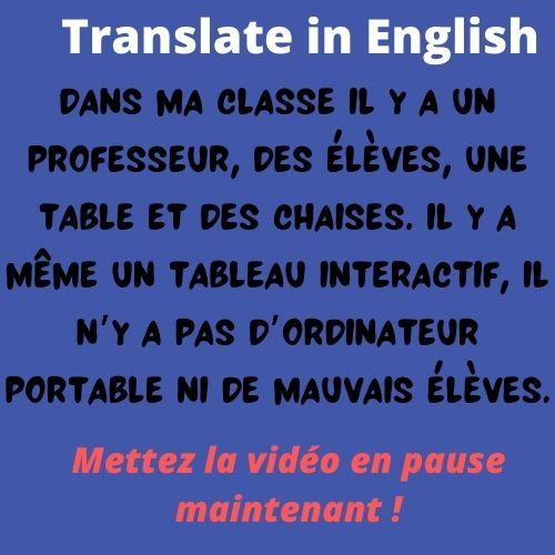 Les objets de la classe traduction