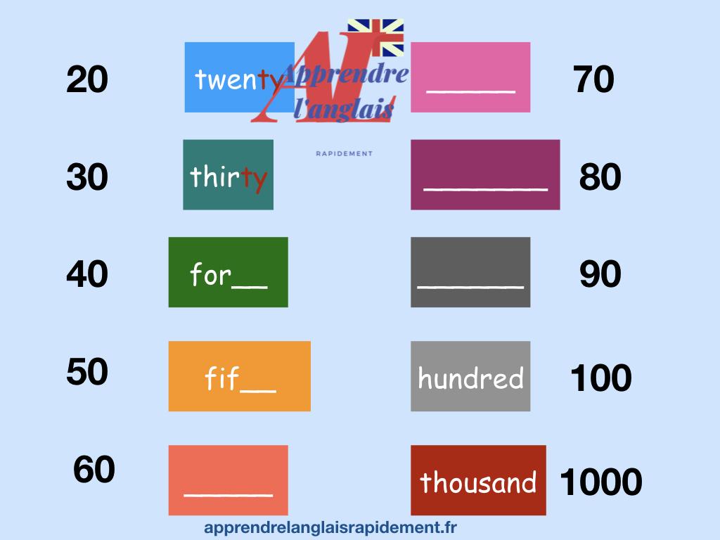 les chiffres de 20 à 1000 à compléter