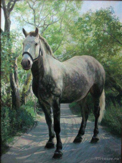 Portrait d'un cheval. Eté. 70x90 Huile sur toile