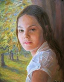 Portrait d'une jeune fille 70x80 peinture à l'huile