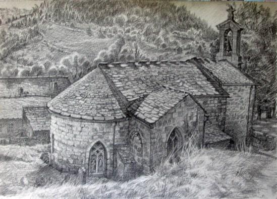 L'église de Barre-Des-Cévennes 30x40 dessin au crayon