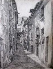 Rue de Saint Louis. Florac. 30x40 dessin au crayon