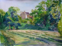 La vue du parc sur le château de Salgas 30x40 aquarelle