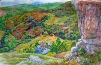 Vue de la montagne Castelas sur Barre-Des-Cévennes 40x50 aquarelle