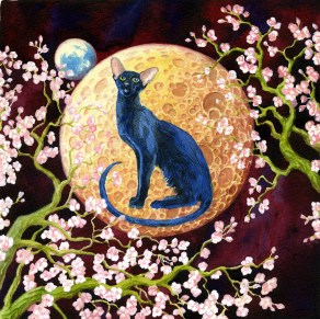 Signe astrologique. L'année du Chat. 30x30 aquarelle
