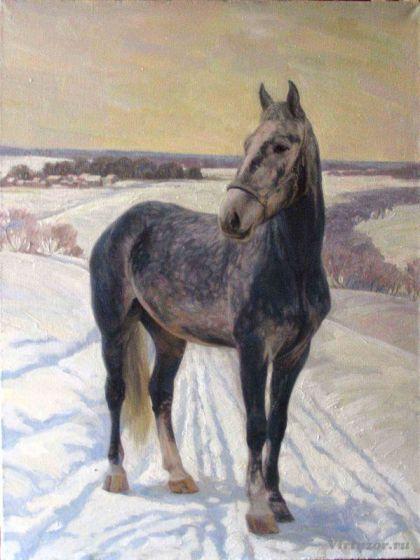 Portrait d'un cheval. Hiver. 70x90 Huile sur toile