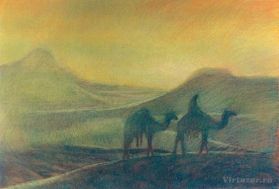 Dans le désert. Série sur la terre éternelle. 70x100 pastel sur carton