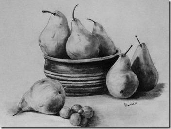 règles de la peinture. dessin de mon élève. Les poires.