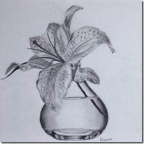 règles de la peinture. dessin de mon élève. Fleur dans une vase en verre