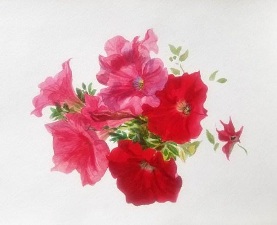 Fleurs aquarelle alla prima