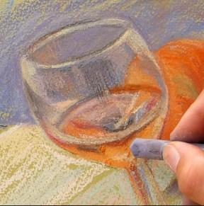 peindre un verre transparent au pastel. le vin dans la verre