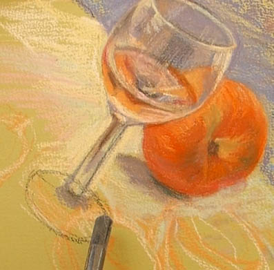 peindre un verre transparent au pastel. le verre avec des réflexes