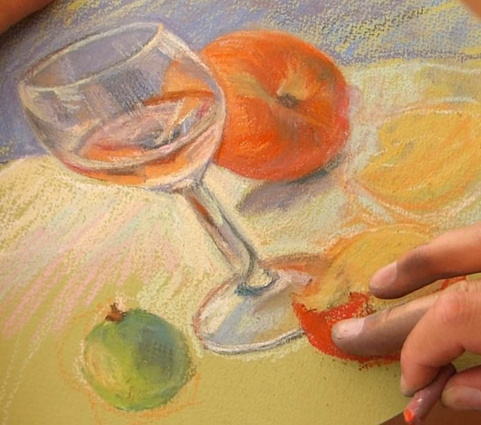 peindre un verre transparent au pastel. le verre et les fruits