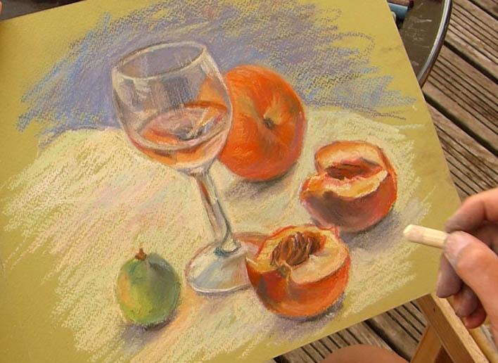 peindre un verre transparent au pastel. nature morte