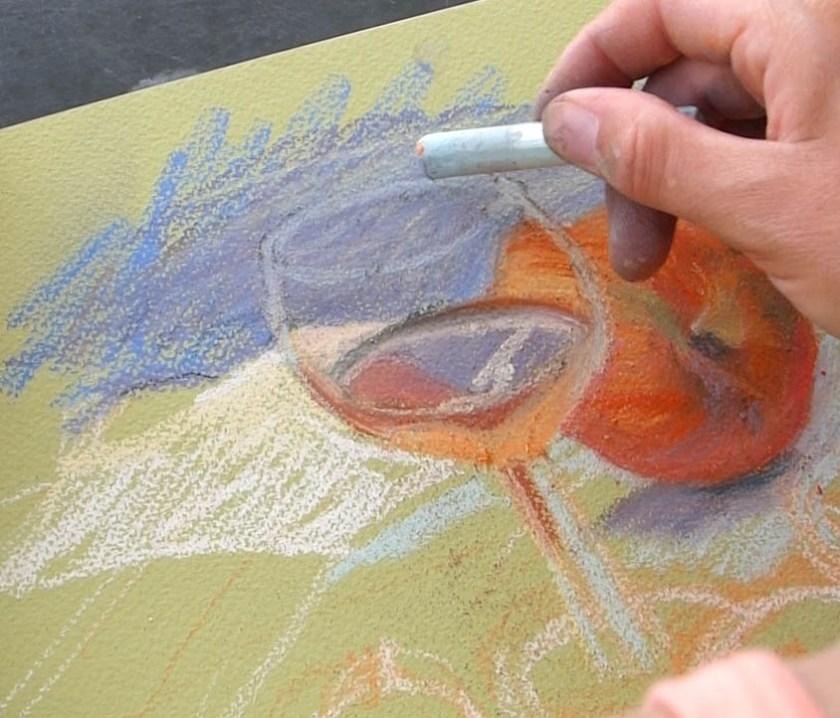 peindre un verre transparent au pastel. les contours du verre