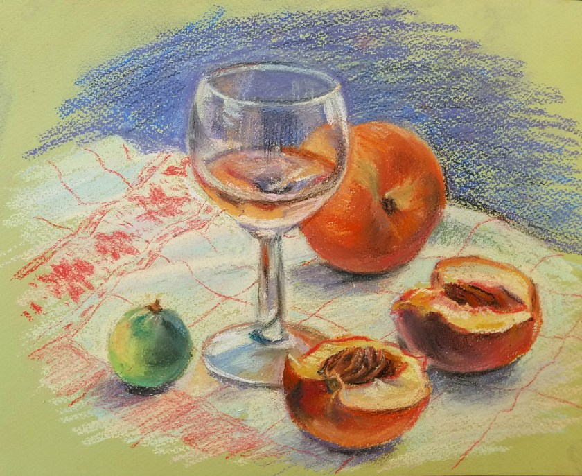 peindre un verre transparent au pastel. nature morte finie