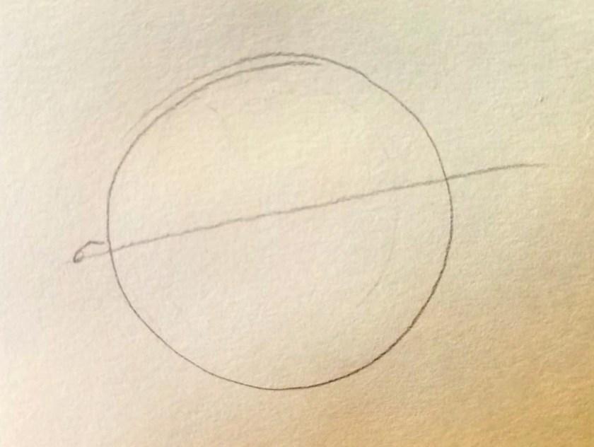 Comment dessiner des yeux. globe oculaire et sa ligne auxiliaire