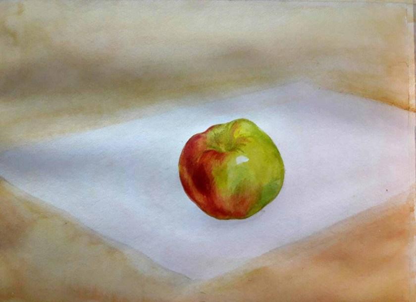 Pomme Trosième couche de peinture. Comment melanger les couleurs à l'aquarelle.