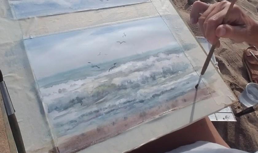 Comment peindre les vagues à l'aquarelle et unifier le tableau