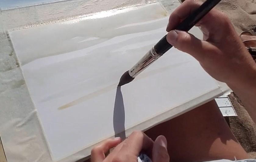 Comment peindre la mer en aquarelle. la première couche de peinture
