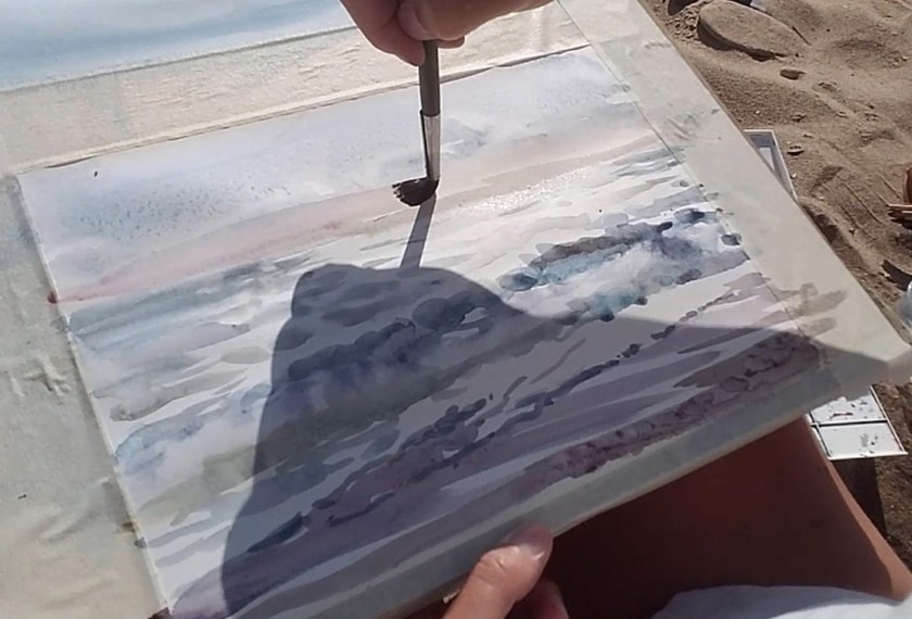 peindre la mer en aquarelle. Les contrastes