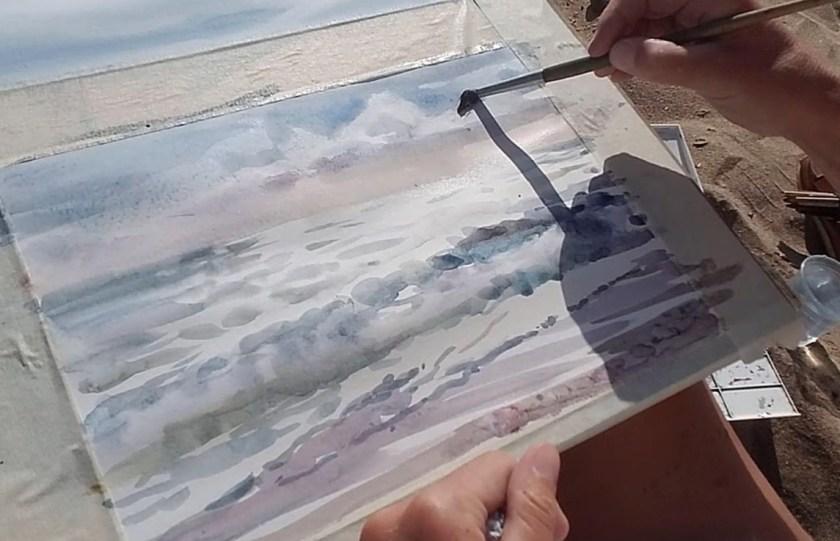 Comment peindre la mer en aquarelle et le ciel