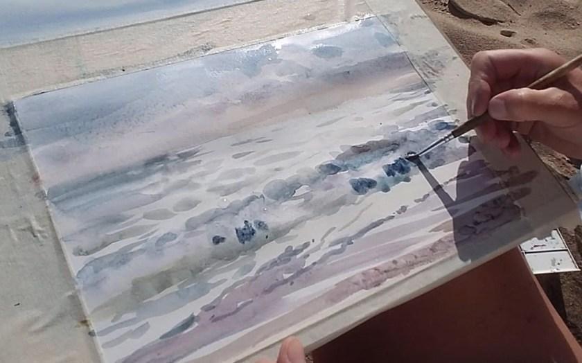 Comment peindre la mer en aquarelle avec les vagues